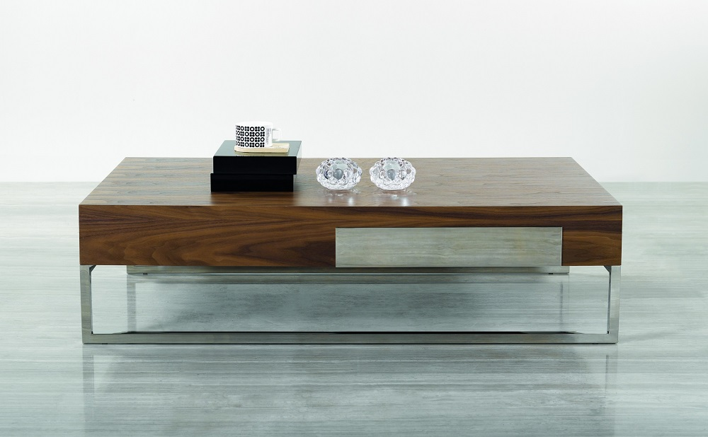 contemporary walnut coffee table with storage drawer and chrome legs