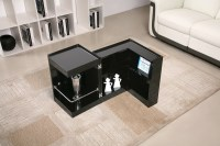 Contemporary Coffee End Table with Mini Storage Bar Inside ...