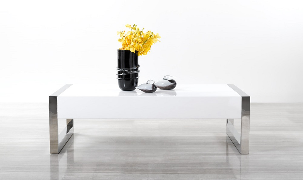 white high gloss coffee table with square chrome legs