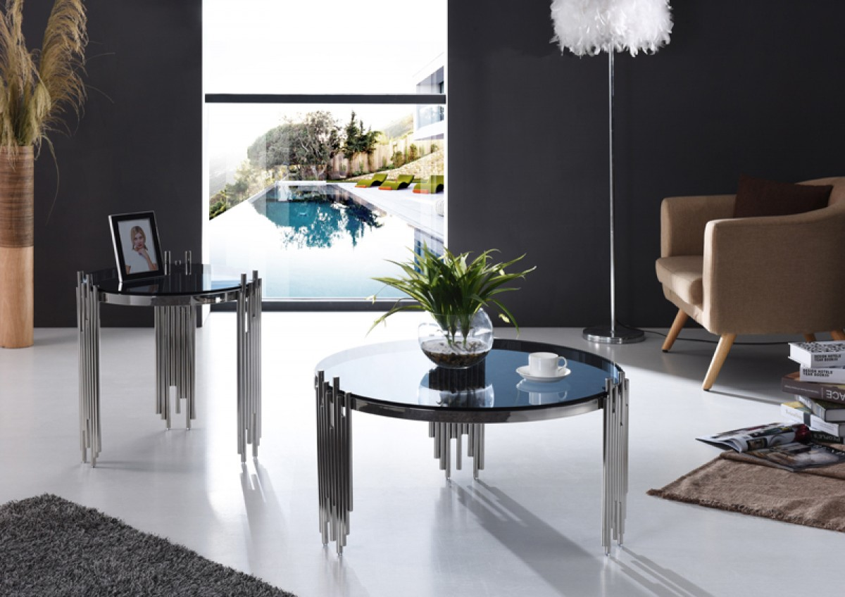 Modern Round Coffee Table with Tempered Glass and
