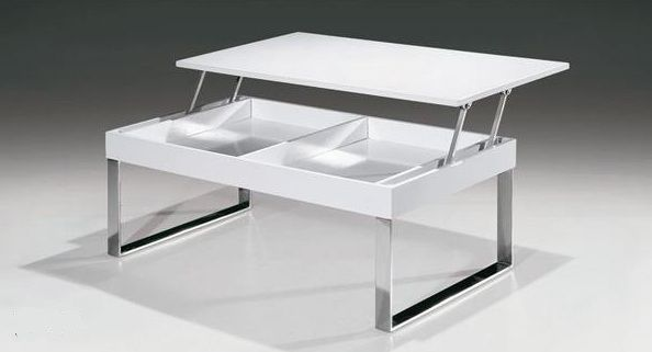 white rectangular coffee table with lift up top