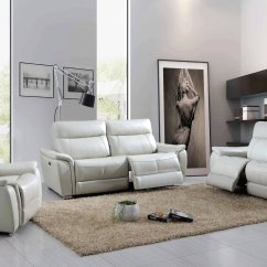 Light Gray Leather Sofa Set Tufted Bed Canada Grey Genuine Italian St Louis