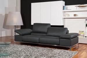 Manhattan Contemporary Black Leather Sofa Set Fresno ...