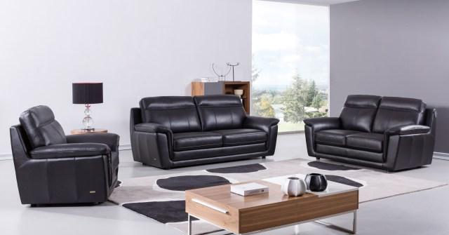 Black Contemporary Living Room Set Finest Genuine Italian ...