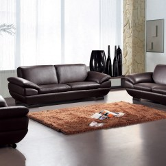 Genuine Leather Sofa Sets Compare Sofas Contemporary Three Piece Set In Dark Brown