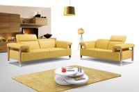 Canary Yellow Three Piece Top Grain Leather Living Room ...