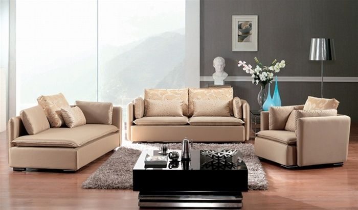 Champagne Color Microfiber Three Piece Sofa Set Washington