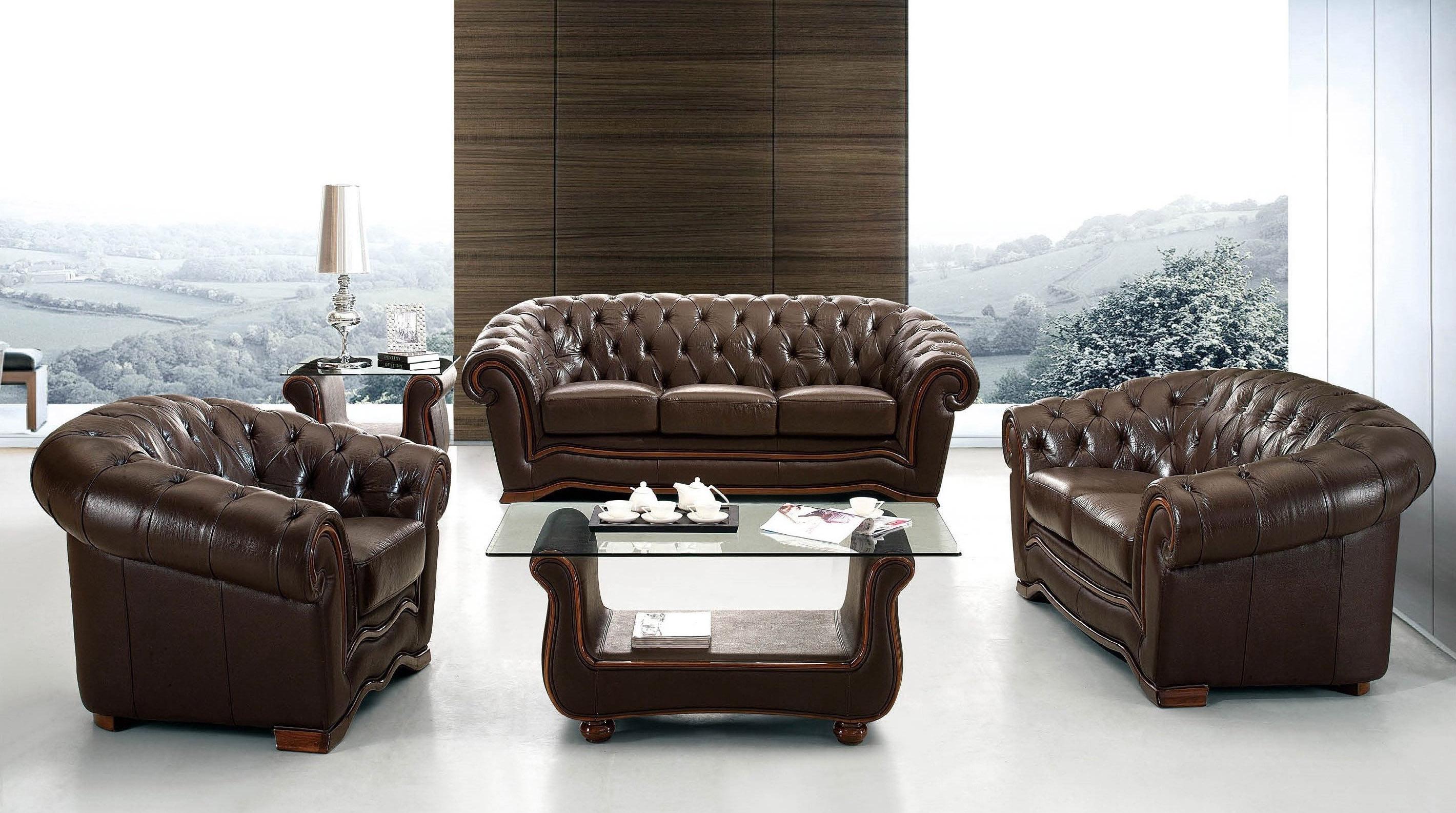 Traditional Brown Italian Leather Living Room Set Toledo