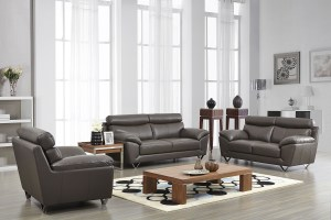 Contemporary Stylish Leather 3Pc Sofa Set with Chrome Legs ...
