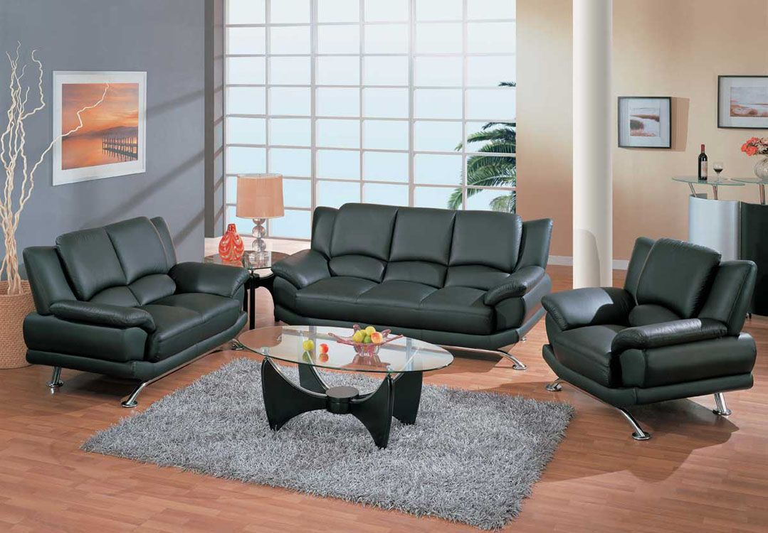 Contemporary Living Room Set in Black Red or Cappuccino