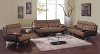 Contemporary Tan / Brown Bonded Leather Living Room Set St ...