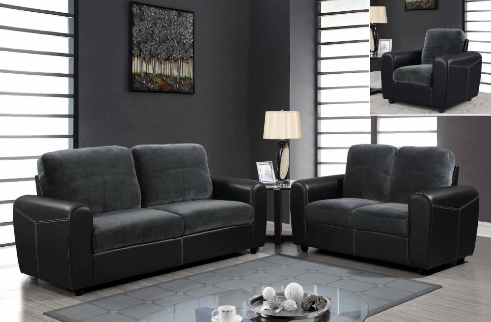 Contemporary TwoToned Leather and Microfiber Upholstered