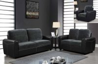 Contemporary Two-Toned Leather and Microfiber Upholstered ...