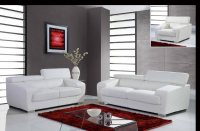 Full Leather White Contemporary Sofa Set with Adjustable ...