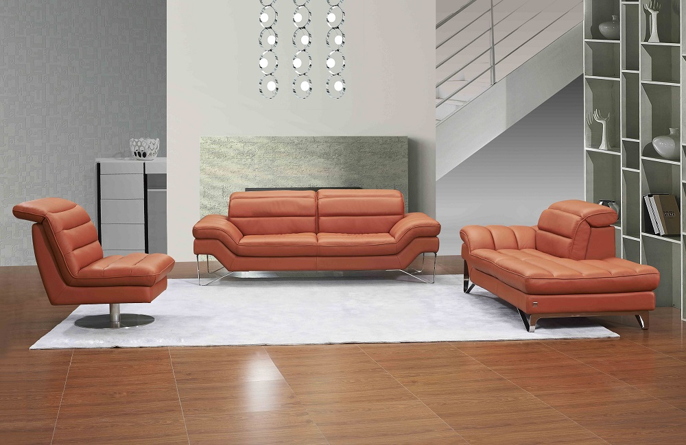 swivel chair sofa set time out with straps quality contemporary orange or chocolate brown 3pc genuine and italian leather modern designer sofas