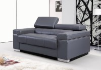 Contemporary Grey Italian Leather Sofa Set with Adjustable ...