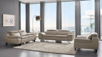 Grey Leather Contemporary Living Room Set Cleveland Ohio ...