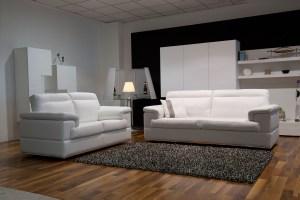 Contemporary Leather Sofa Set on Chrome Frame San Diego ...
