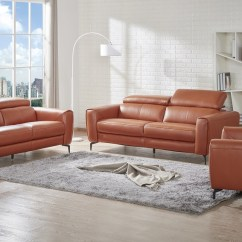 Color Sofas Living Room Small Leather Chairs For Caramel Three Piece Sofa Set Portland Oregon J M Genuine And Italian Modern Designer