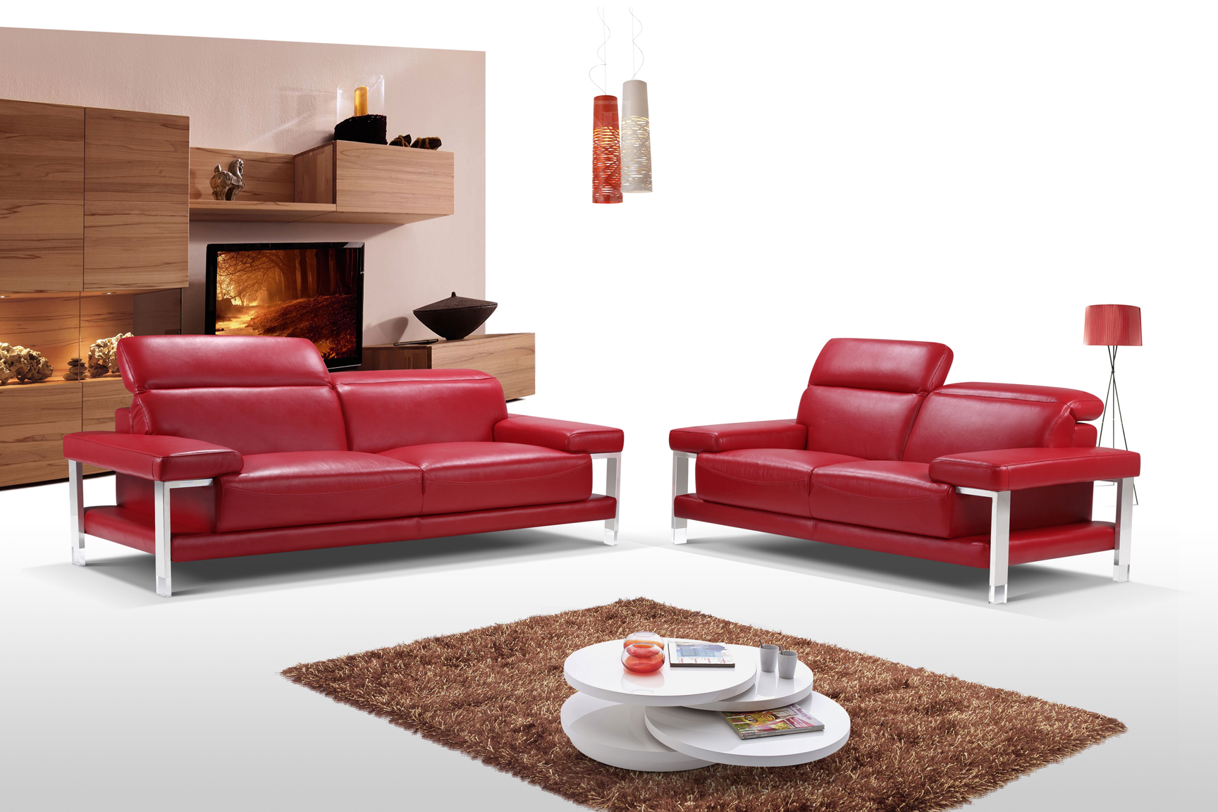 red leather sofa sets on sale flexsteel crosstown reclining chic fiery two piece top grain living room set