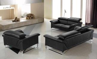 Elite Contemporary Black Leather Sofa Set Anaheim ...