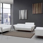 Modern White Upholstered In Italian Leather Sofa Set New York New York Vig Ronen 1547