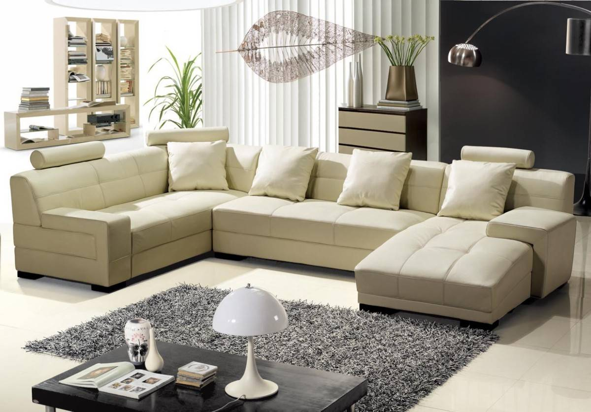 Unique Tufted All Italian Leather Sectional Sofa with Pillows Birmingham Alabama V3334