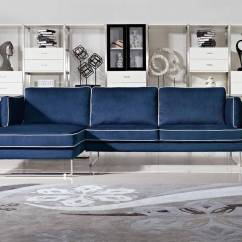 Best Fabric Sectional Sofa Cleaner Contemporary Blue With White Piping