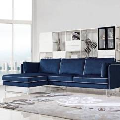 Large Seat Depth Sofas Highland House Sofa Contemporary Blue Fabric Sectional With White Piping ...