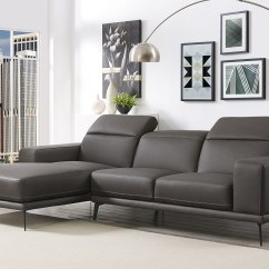 Leather Corner Sofa Spain Craigslist New Jersey Grey Contemporary Sectional With Durable Chrome Tube Frame