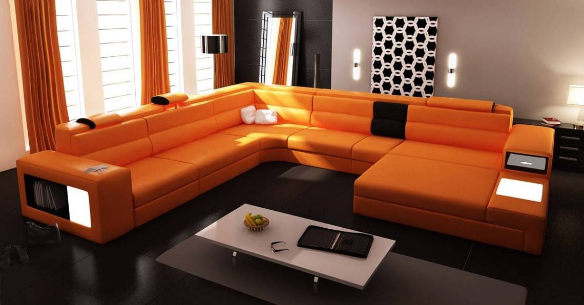 Extra Large Contemporary Sectional Sofa in Copper with End ...