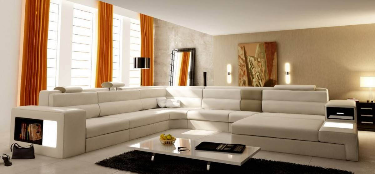 Extra Large Leather Sectional Sofa With Attached Corner Table : extra large leather sectional - Sectionals, Sofas & Couches