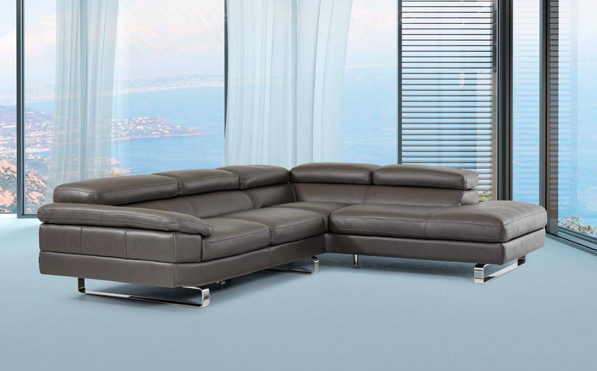 Dark Grey Top Grain Leather Sectional Sofa With Motion Headrest Made In Italy Milwaukee Wisconsin V David Ferrari Violetta