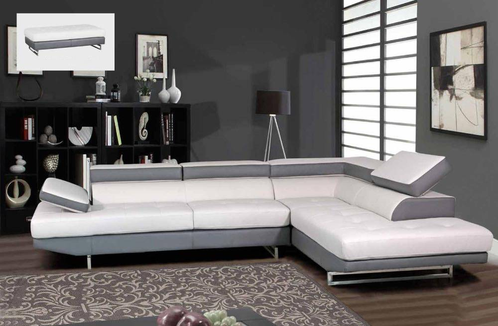 white leather sectional sofa with ottoman outdoor sofas perth contemporary gray and matching quality bonded corner