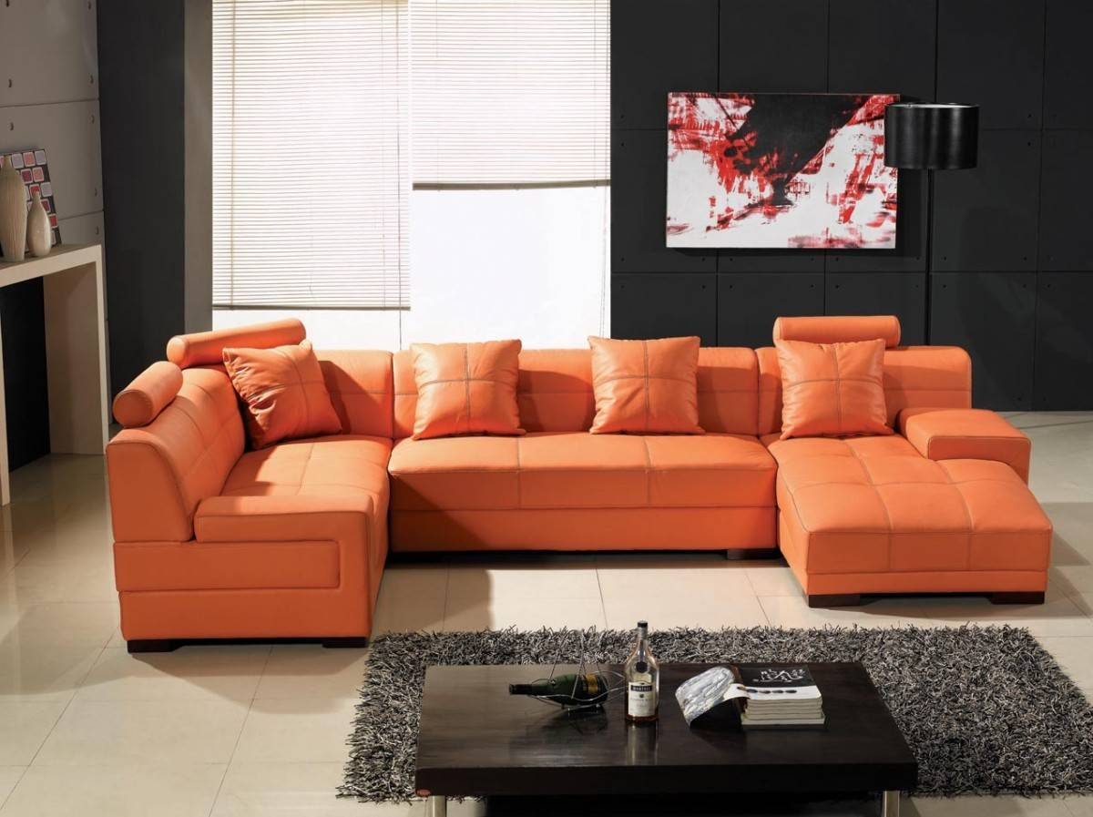 Unique Genuine Leather Sectional with Pillows Denver