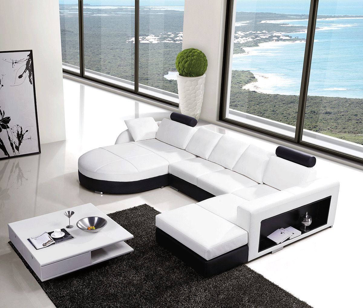 huge italian white leather modern sectional sofa set malaysia large u and l sectionals corner design couch