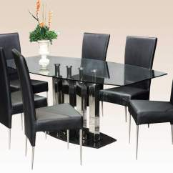 Marble Living Room Furniture Affordable Stylish Clear Glass Top Leather Modern Dinner Table Set Dining Sets With Chairs