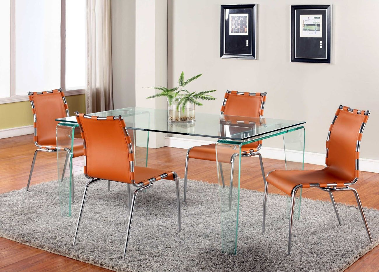 orange dining room chair covers swivel rectangular all clear glass top leather designer table and