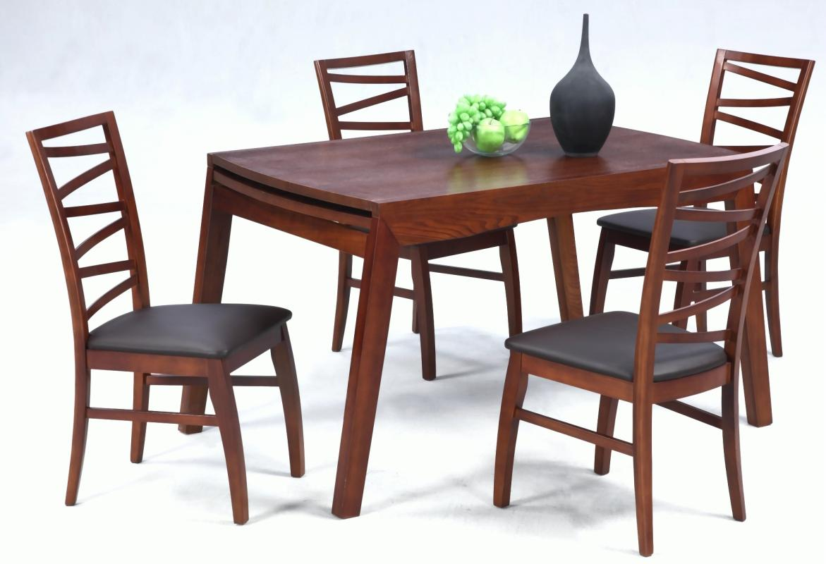 red kitchen table set bistro extendable in wood leather 5 pc dinette with leaf