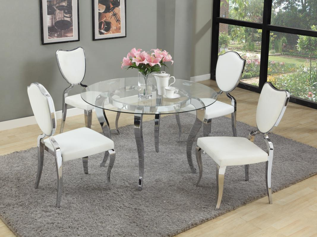 round glass dining table and chairs average chair cover rental price refined top room furniture dinette