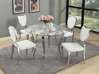 Refined Round Glass Top Dining Room Furniture Dinette ...