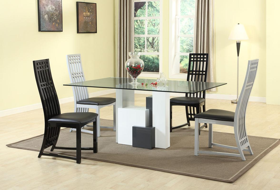 breakfast table and chairs set desk chair humanscale graceful rectangular clear glass top dining