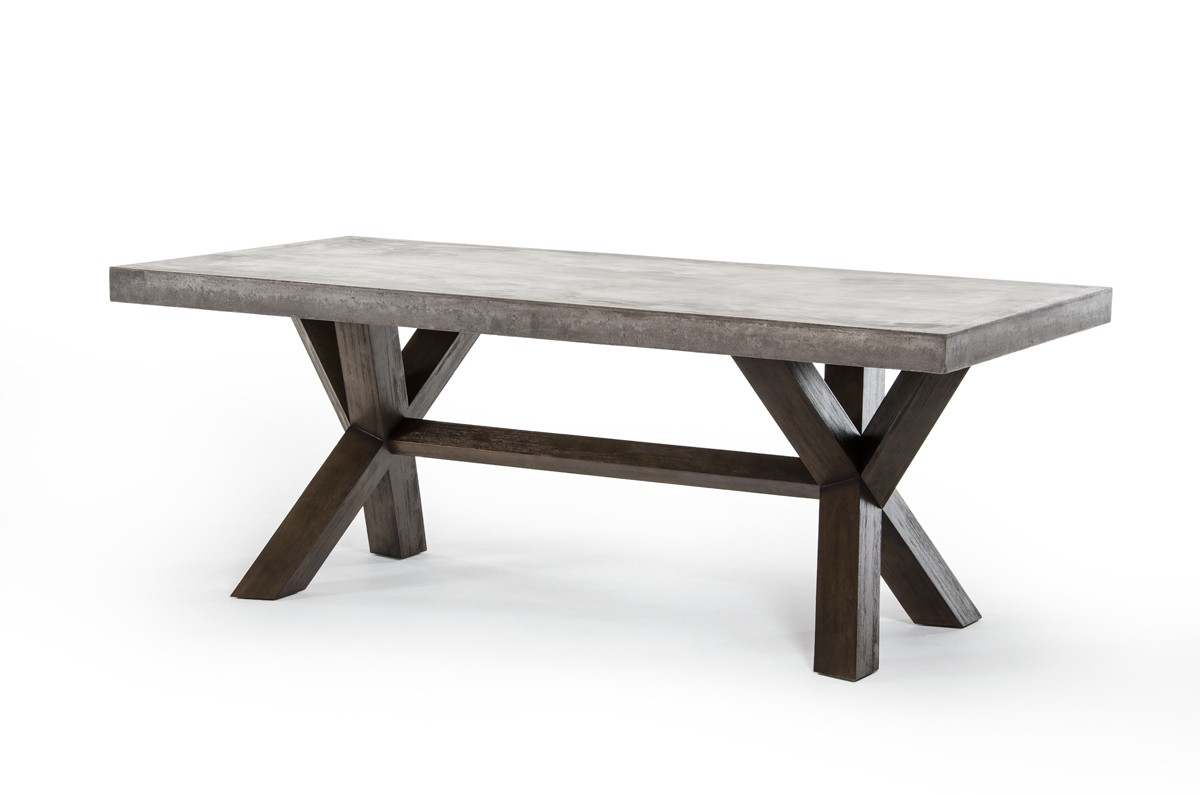 concrete kitchen table home depot lighting rectangular and acacia base dining houston texas vig customize this product