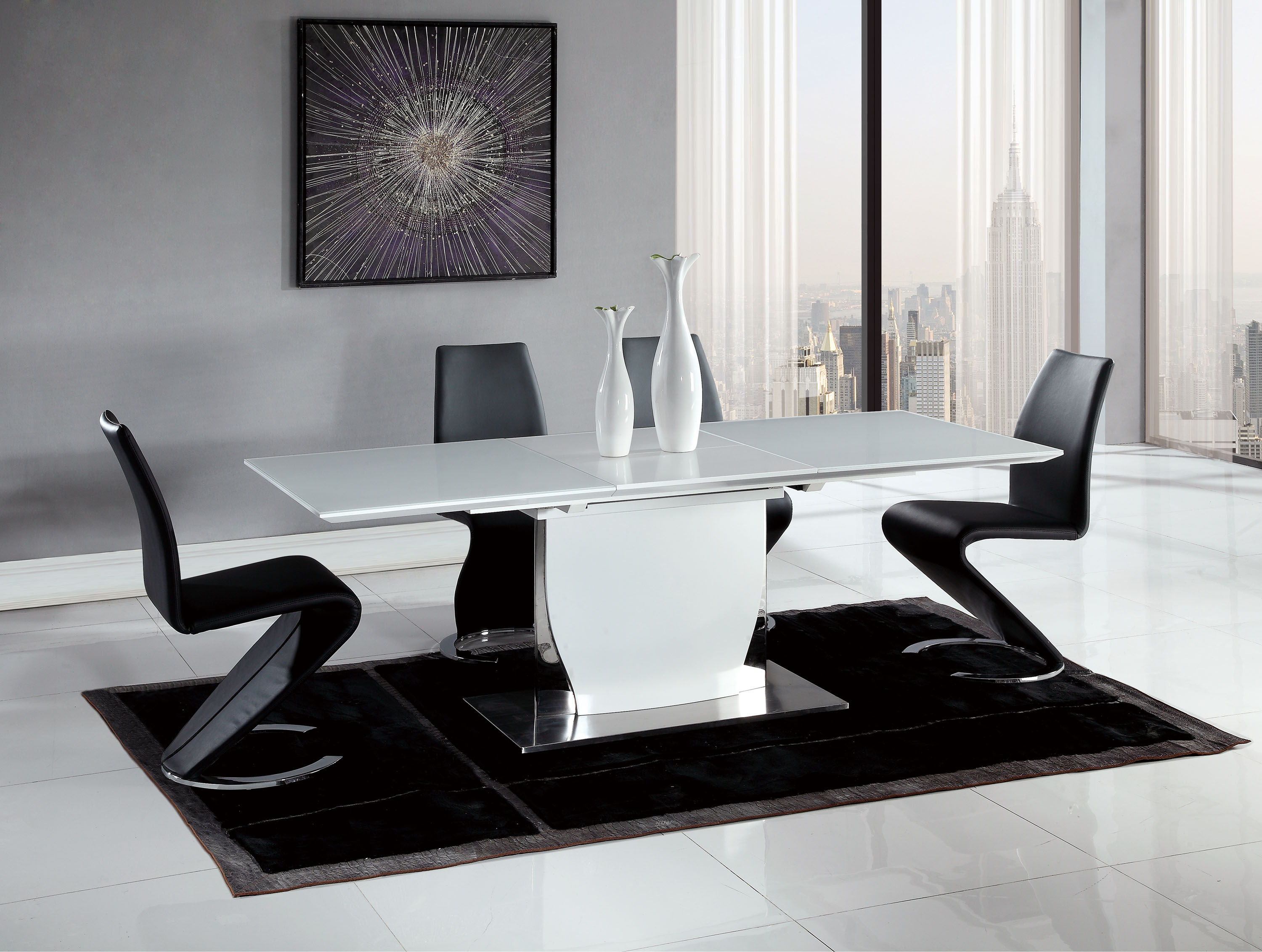 Contemporary Black and White Dining Set with Elegant Black