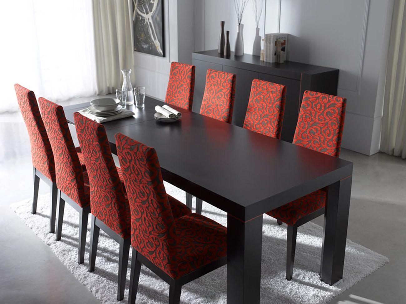 Extendable Rectangular In Wood Fabric Seats Modern