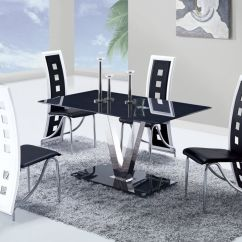 Black And White Kitchen Table Kohler Faucets Fixed Glass Top Leather Dinette Tables Chairs
