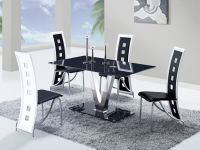 Fixed Black Glass Top Leather Dinette Tables and Chairs ...