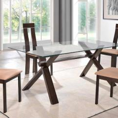 Glass And Wood Dining Table Chairs Yoga Ball Chair Reviews Sophisticated Rectangular In Clear Top