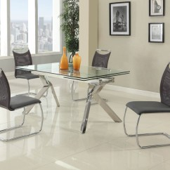 Kitchen Dinette Blendtec Mill Fashionable Rectangular Glass Top Leather Sets Dining With Chairs