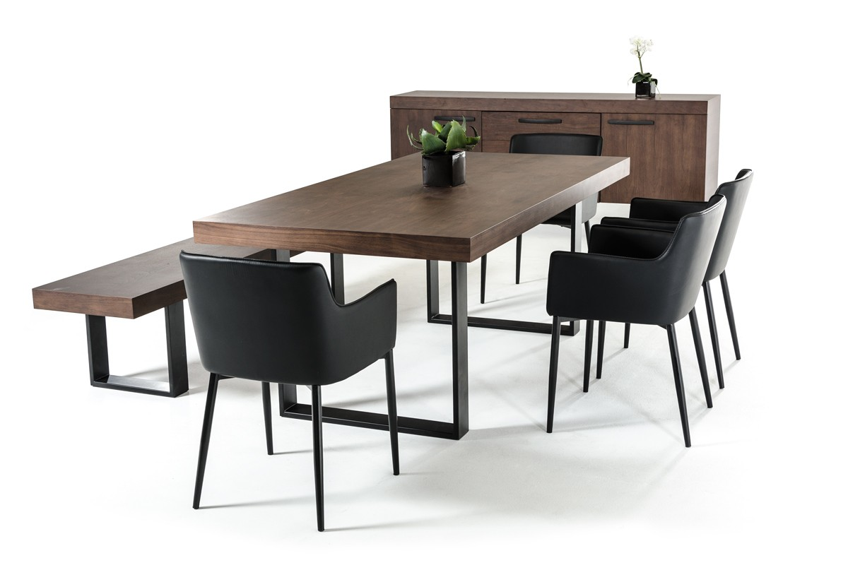 black metal and wood dining chairs blue leather office chair classic walnut veneer base table